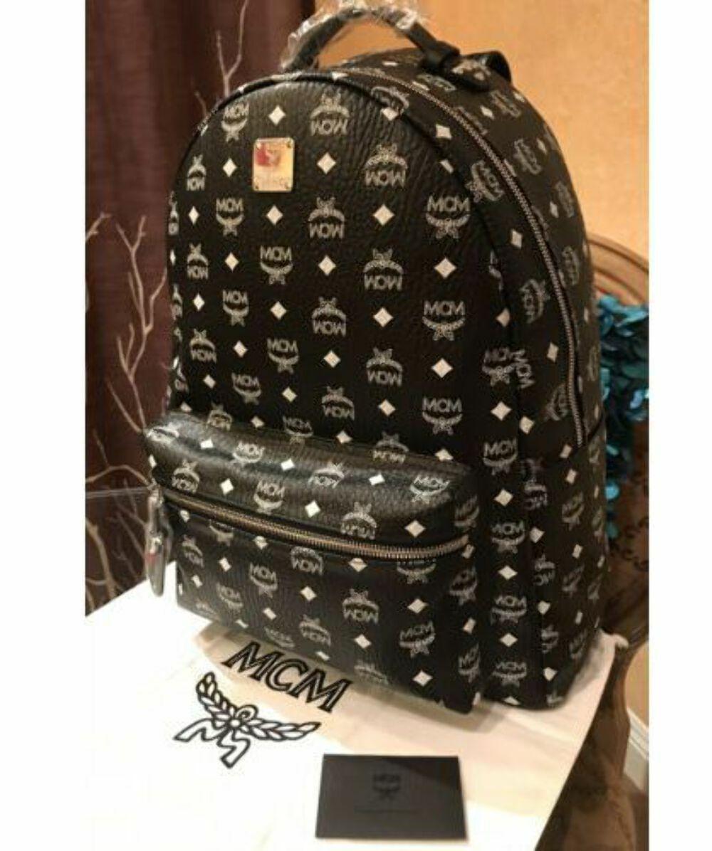 HOT! NWT MCM Stark Monogram Embossed White Logo Black Backpack Bag - Unisex NWT