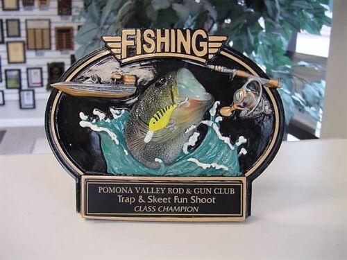 FISHING PLAQUE TROPHY AWARD THREE DIMENSIONAL FREE ENGRAVING HIGH QUALITY