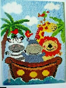 Latch-hook-rug-kit-034-Noah-039-s-Ark-Rug-034-With-character-animals-onboard-UK-seller