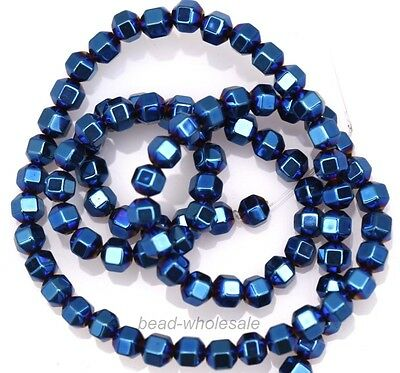 A Strand (approx100x) Square Plated Hematite Gemstone Spacer Beads New Hot 4mm