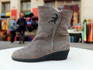 Details zu ARA Damen Stiefel Boots Gr. 42 UK 8 Grau Wildleder Futter Biberlamm True Vintage