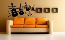 Mesleep Music Of Guitar Design Black PVC Wall Sticker - Wall Decal