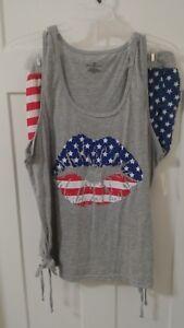 NEW-Women-039-s-Sleepwear-Pajamas-Size-2X-3X-Patriotic-Lips-RED-WHITE-BLUE-T17