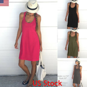 5c95cfbd804 Image is loading US-Womens-Summer-Cotton-Vest-Sleeveless-Sundress-Beach-
