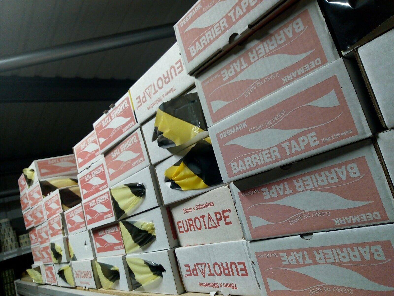 Yellow / Black Hazard Warning Tape. Non Adhesive Barrier Tape 75mm x 500m