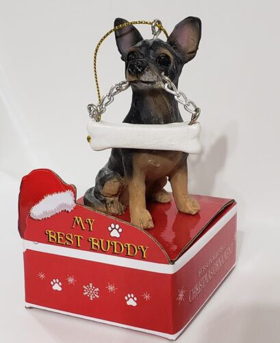 Bk /& Tan CHIHUAHUA Statue with Bone on Box Base Christmas Ornament by E/&S Pets