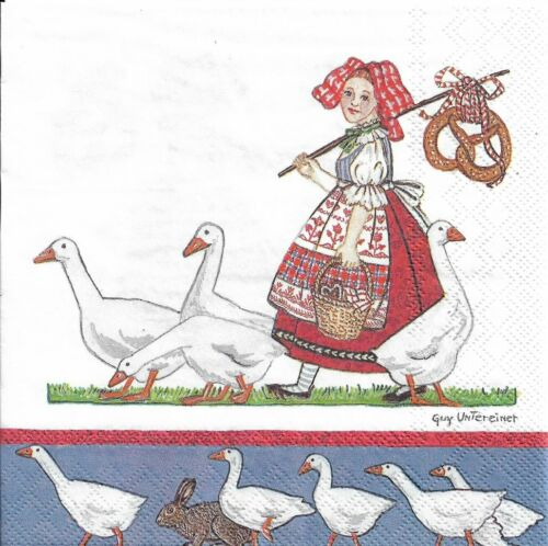 Lot de 2 Serviettes en papier Bretzels Alsace Oies Decoupage Collage Decopatch