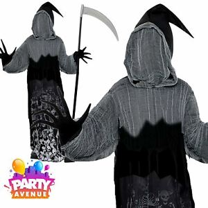 Details About Teen Boy Dark Shadow Creeper Outfit Halloween Grim Reaper  Costume