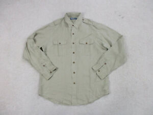 Ralph-Lauren-Polo-Button-Up-Shirt-Adult-Large-Brown-Tan-Casual-Outdoors-Mens
