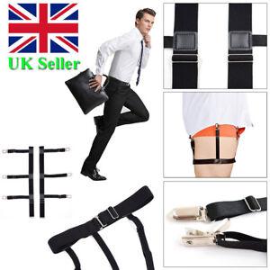 Mens-T-Shirt-Stays-Suspender-Leg-Holders-Elastic-Garter-Non-slip-Locking-Clamps
