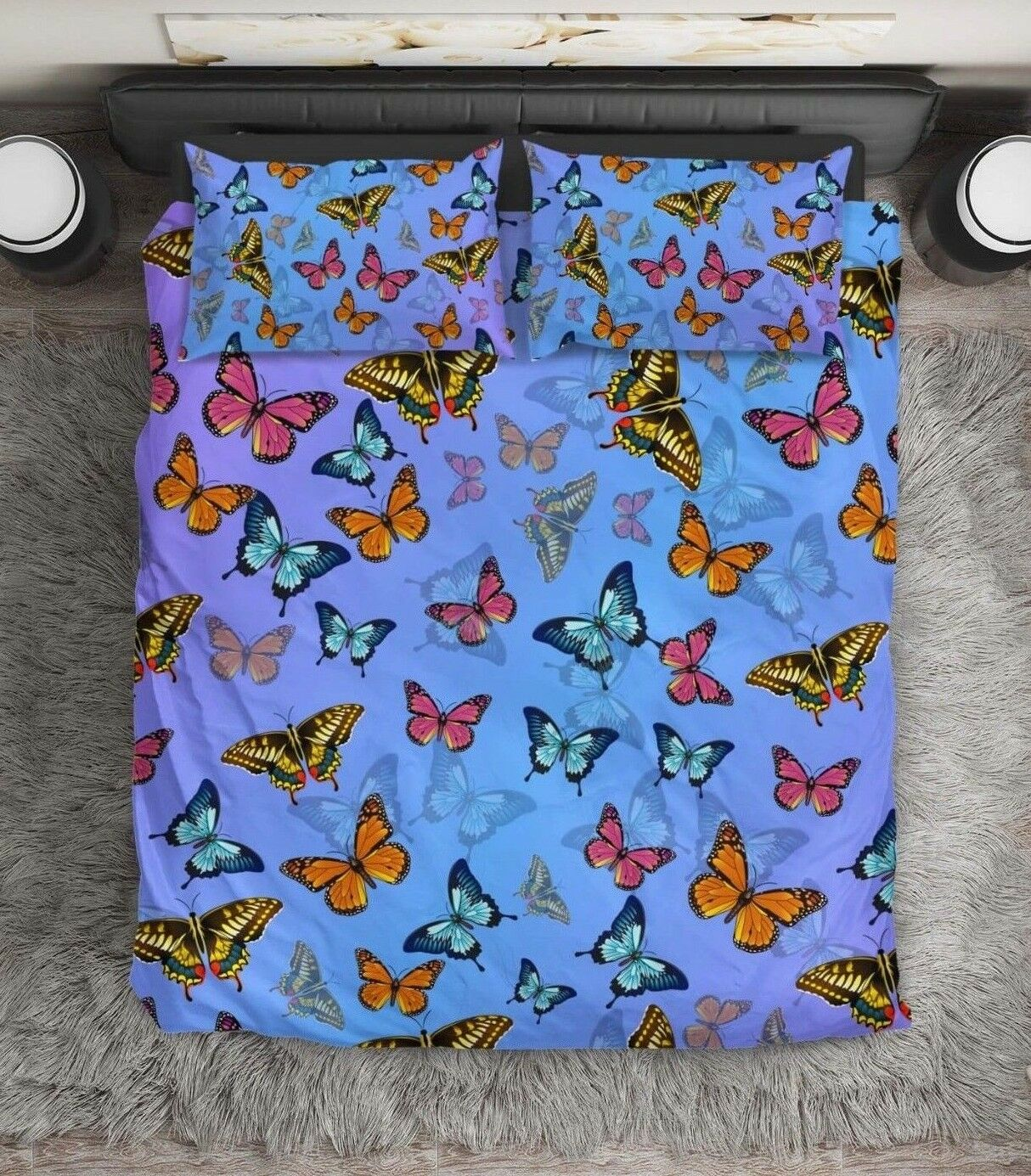 Butterfly Pattern Bedding Duvet Cover, Kids Gift, Kids, Queen, King, Twin,Double