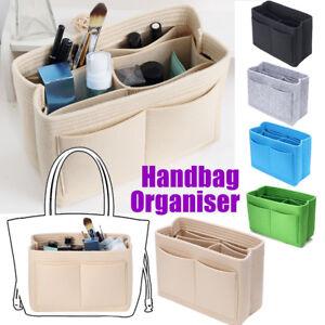 26b02d194aaa Green Black Insert Organizer Handbag Purse Felt Bag Multi Pocket ...