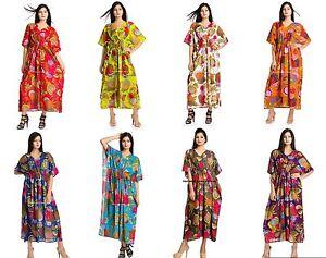 Image is loading Women-Cotton-Beach-Wear-Casual-Floral-Printed-Kaftan- fffef74d1