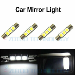 4 x xenon white 3 smd 6641 led fuse bulbs for car sun visor vanity mirror lig. Black Bedroom Furniture Sets. Home Design Ideas