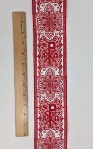 Vintage-Vestment-Rojo-Cruz-en-Blanco-8-3cm-Banda-Vendido-por-Yard
