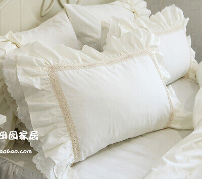 White Embroidered Cotton Lace Ruffles Pillowcase Sham Pillow Slipm Cover 1pc