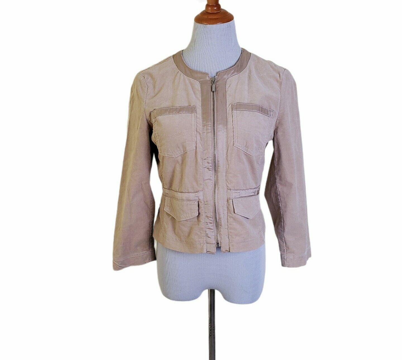 BCBG Maxazria Jeans Velvet Soft Tan Zip Up Light Jacket with Top Pockets Size M