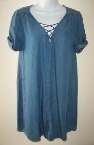 Lucky Brand Blue Chambray Short Sleeve Lace-Up Mini Swing Dress Women's Small