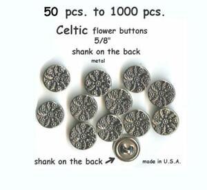 """10 5//8/""""  15 mm Antiqued Silver Black  Metal Flower Shank Back  Buttons"""