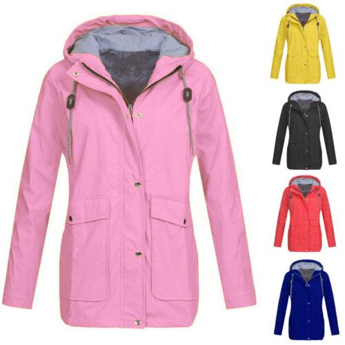 Women Rain Jacket Tunic Plus Size Outwear Waterproof Hooded Raincoat Windproof