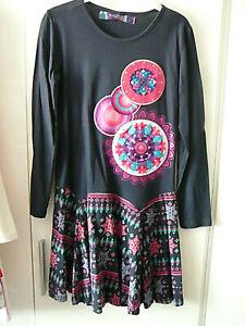 Desigual Kleid Gr. 134 140 dunkelblau pink langarm türkis ...