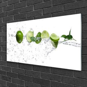 Details zu Wandbilder 100x50 Glasbild Druck auf Glas Limetten Wasser Küche