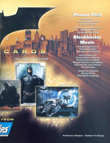 BATMAN BEGINS MOVIE 2005 TOPPS PROMOTIONAL PAMPHLET SELL SALE SHEET