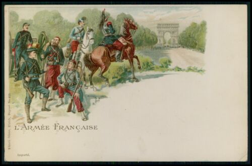 France Army War Military soldier original Gruss aus type c1900s Litho postcard