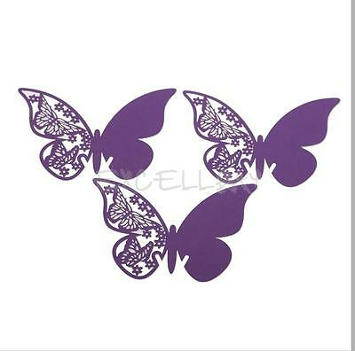 50 Pcs Butterfly Cut-out Place Escort Wine Glass Paper Cards for Wedding Party