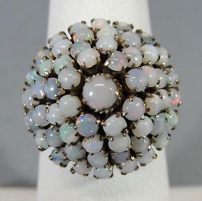 Antique Ladys Handmade 14KT Yellow Gold & Opal Cluster Size 7 Ring NR