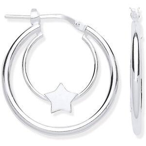 925-plata-esterlina-ley-25MM-acabado-de-espejo-Estrella-Cuna-Aro-pendientes