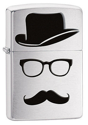 Zippo Brushed Chrome Top Hat Mustache Windproof Lighter 28648 New