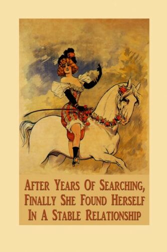 Horse Lady After Years Found Herself in  Stable Relationship Poster FREE SHIP