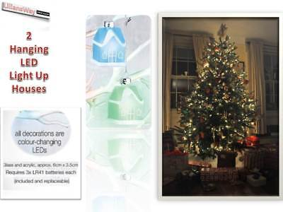 2 Christmas Led Colour Changing Decorations~xmas Tree Hanging Houses