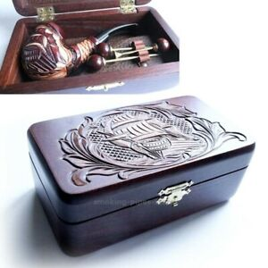 SET-Smoking-Tobacco-carved-pipe-SHIP-in-wooden-Box-cleaning-Tools-accessories