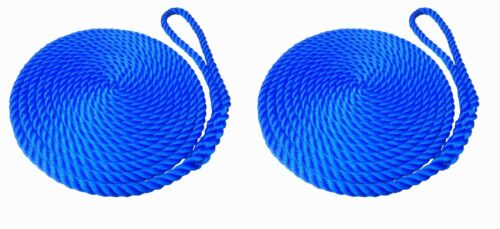 2 x 8 MTS OF 16MM ROYAL BLUE SOFTLINE MOORING ROPES / WARPS / LINES BOATS