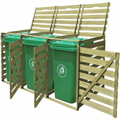 Cache-poubelle à roulettes triple imprégné en bois Z2B5