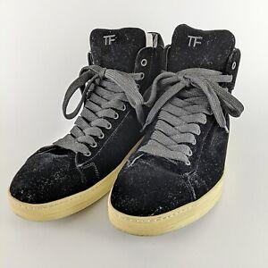 TOM-FORD-Black-Velvet-034-TF-034-High-Top-Italian-Sneakers-Size-12