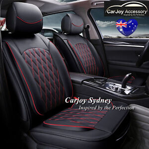Leather Car Seat Cover Black Red Mitsubishi Lancer Mirage Asx Triton