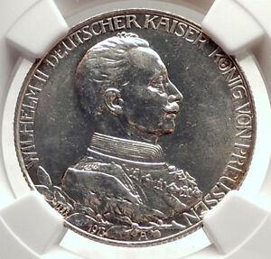 1913-PRUSSIA-KINGDOM-Germany-WILHELM-II-Silver-2-Mark-German-Coin-NGC-i71328