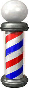 BARBER-SHOP-POLE-VINYL-DECAL-GLOBE-TOP-CHOOSE-YOUR-SIZE-RED-WHITE-BLUE