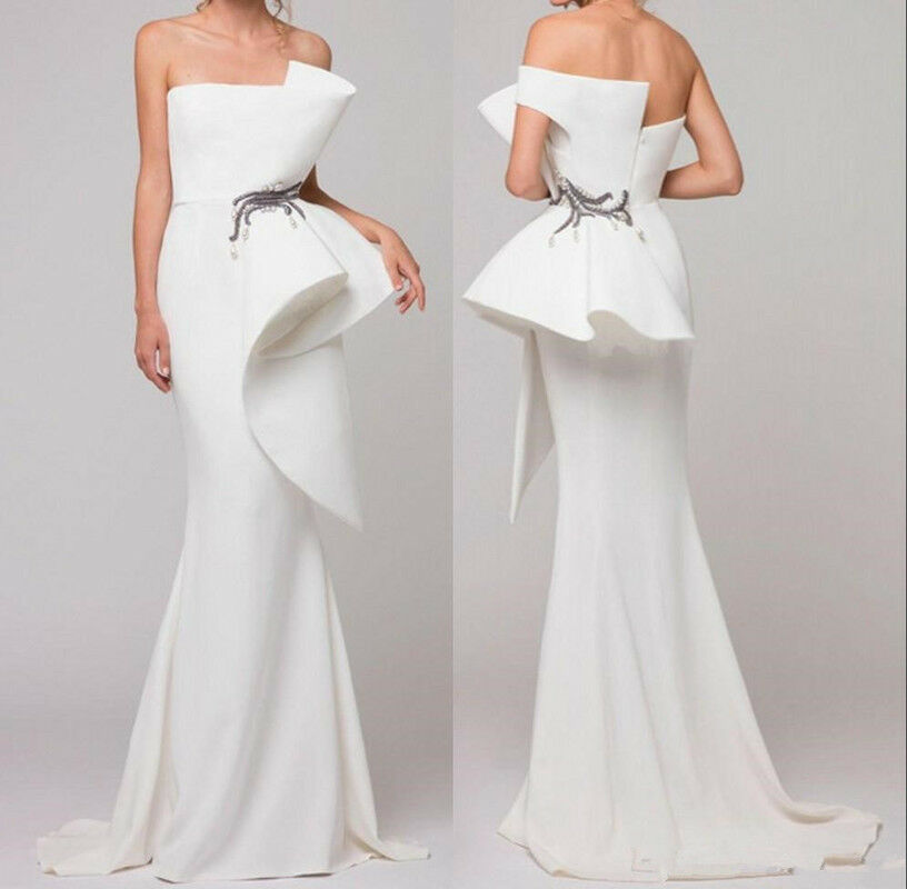 White Strapless Satin Mermaid Long Evening Dress Ruffles Formal Prom Party Gown