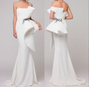 White-Strapless-Satin-Mermaid-Long-Evening-Dress-Ruffles-Formal-Prom-Party-Gown