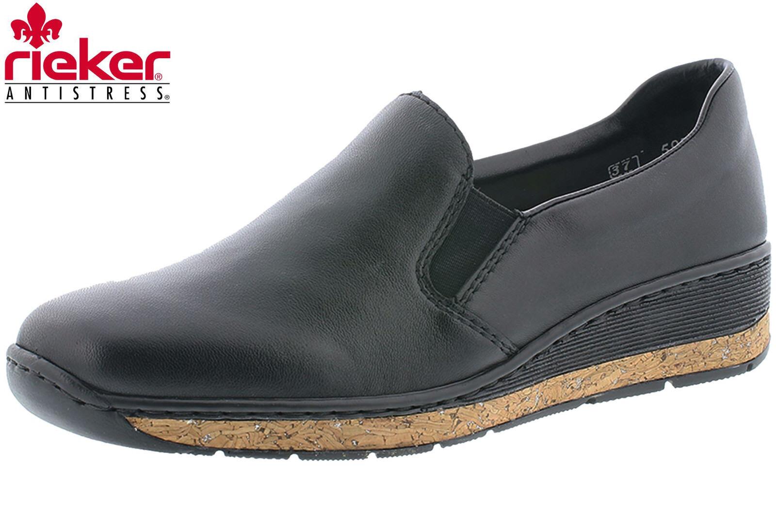 Rieker Damen Slipper Schwarz Leder Schuhe Frühjahr Sommer Bequem 59766-00 NEU