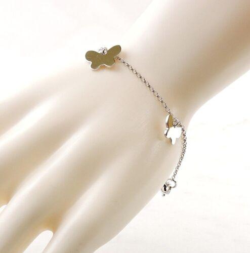 """Argent Sterling 7.25/"""" papillon charm bracelet-cadeau gratuit emballage"""