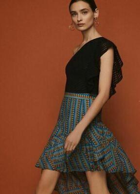 BCBGMAXAZRIA Womens One Shoulder Striped Lace Bodysuit