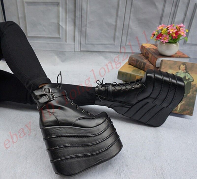 Super High Heels Donna Wedge Heels Platform Ankle Gothic Boots Cosplay Shoes