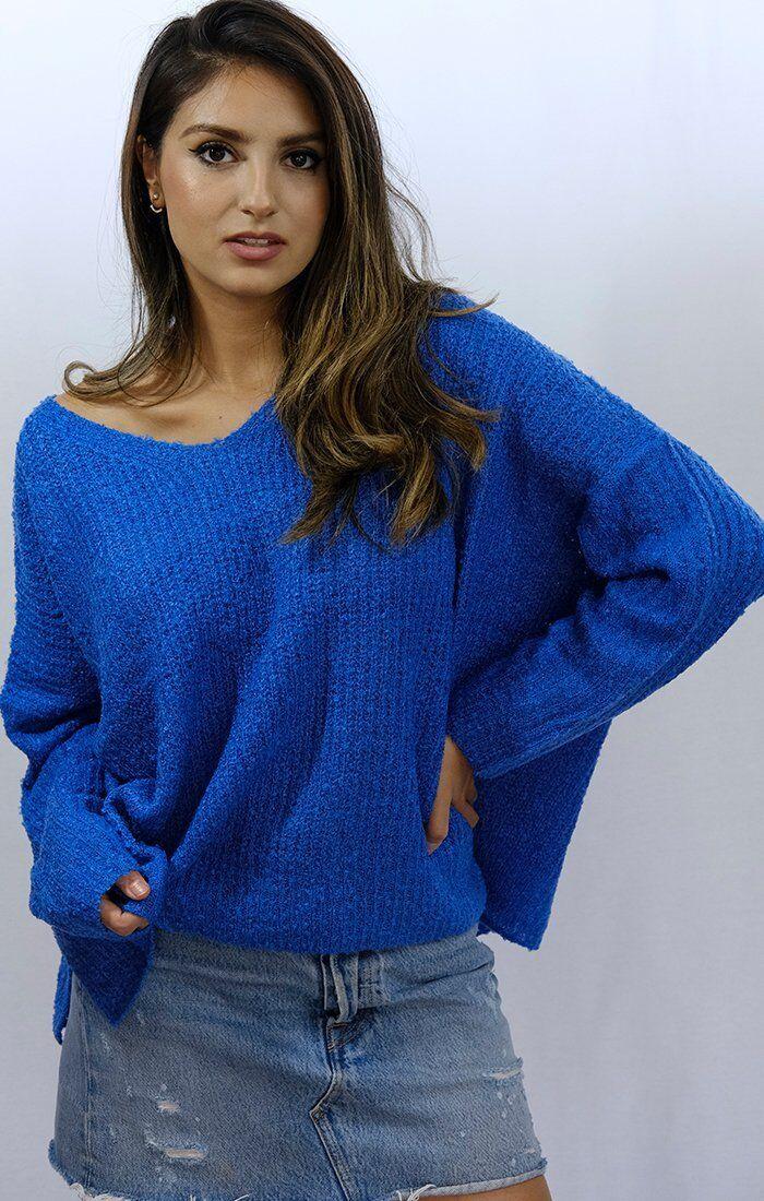 Vibrant bluee Oversized Soft Knit Sweater