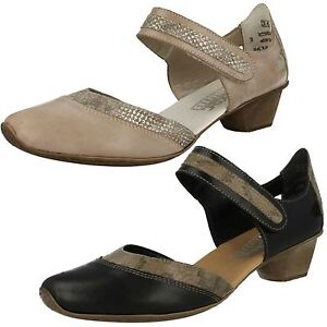 Mujer Rieker 49780 Negro O Gris Cuero Elegante lateral abierto Zapatos
