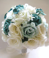 17 Pc Wedding Bouquet Bridal Silk Flowers Teal Mint Green Cream Decorations